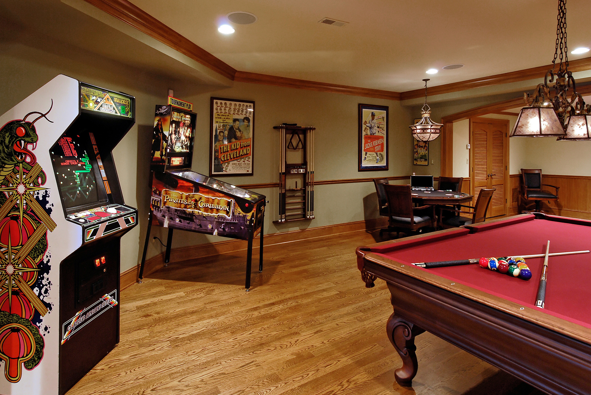 Multi space renovation in potomac maryland bowa Basement game room ideas