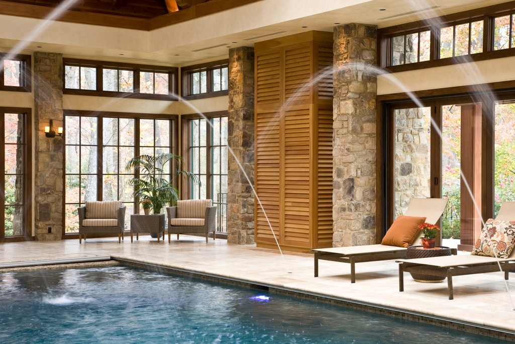 Potomac MD Indoor Pool Addition Renovation Fountain