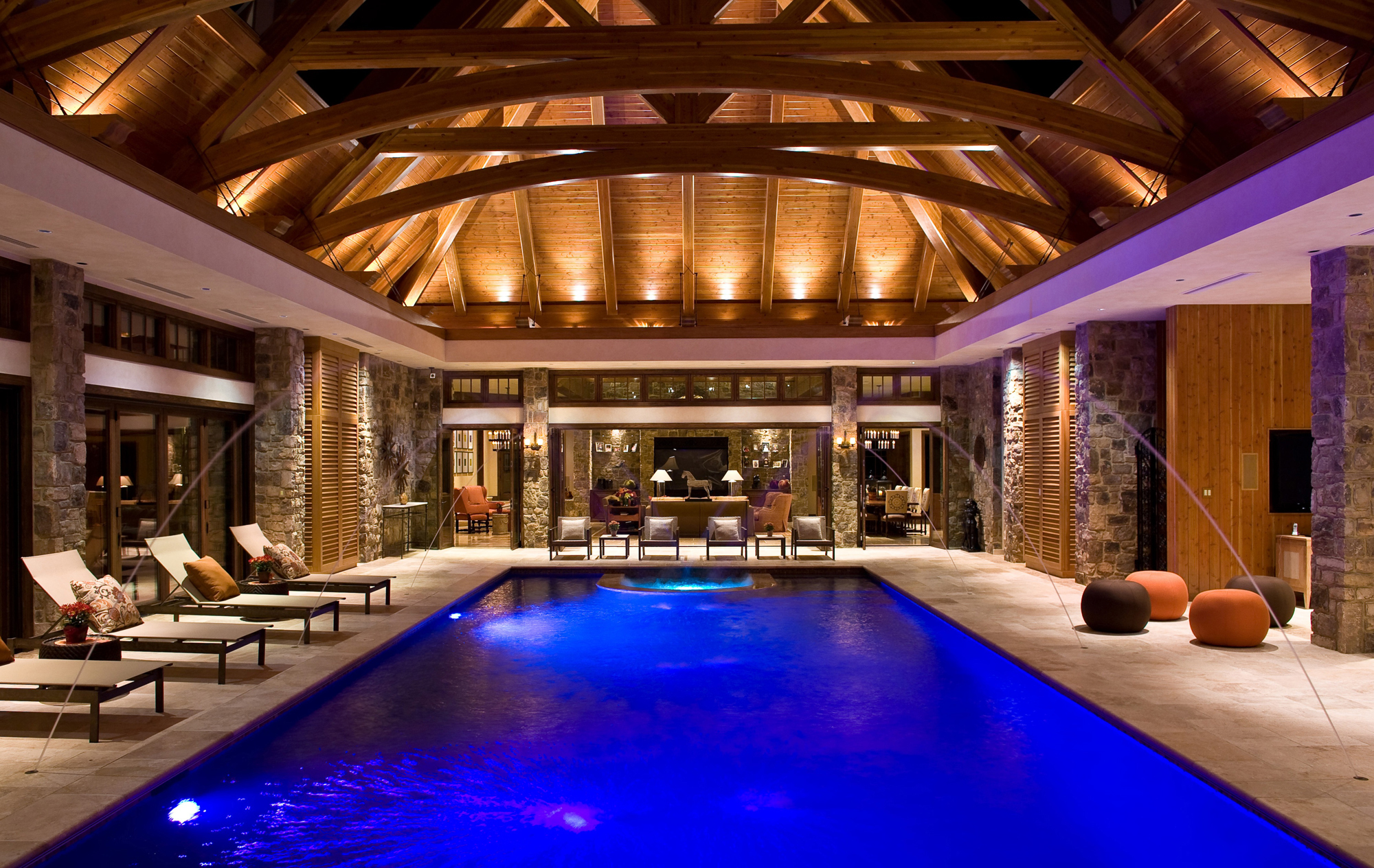Indoor Pool Great Room Addition Potomac Md on log cabin fire