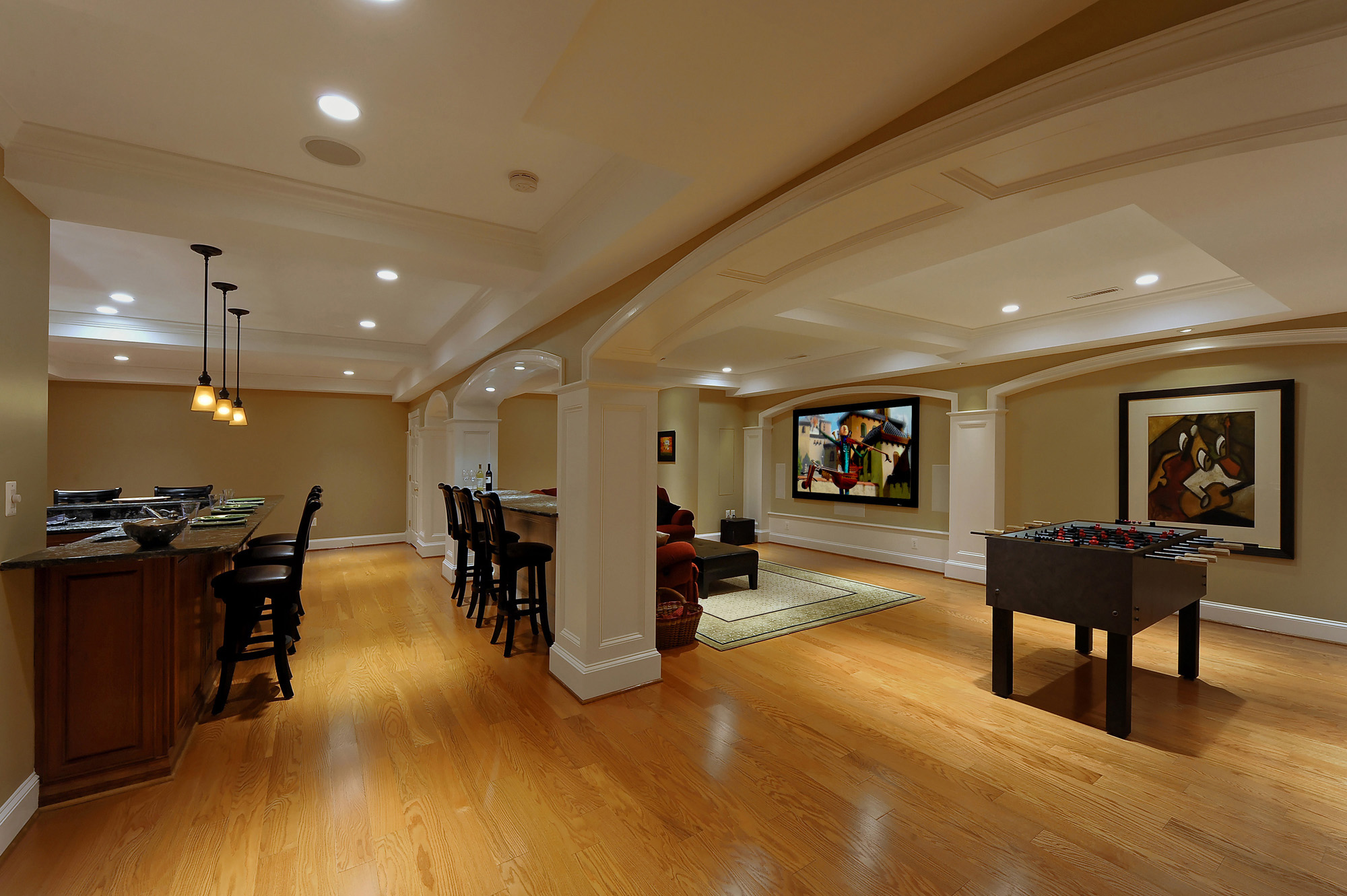 Lower level renovation creates wonderful spaces for ashburn virginia family bowa - Basement renovation ...