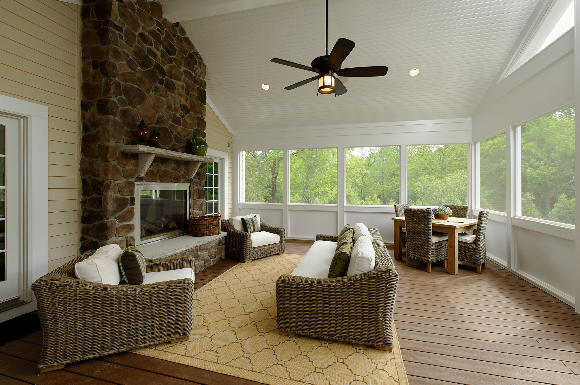 back porch renovation in great falls features spectacular stone