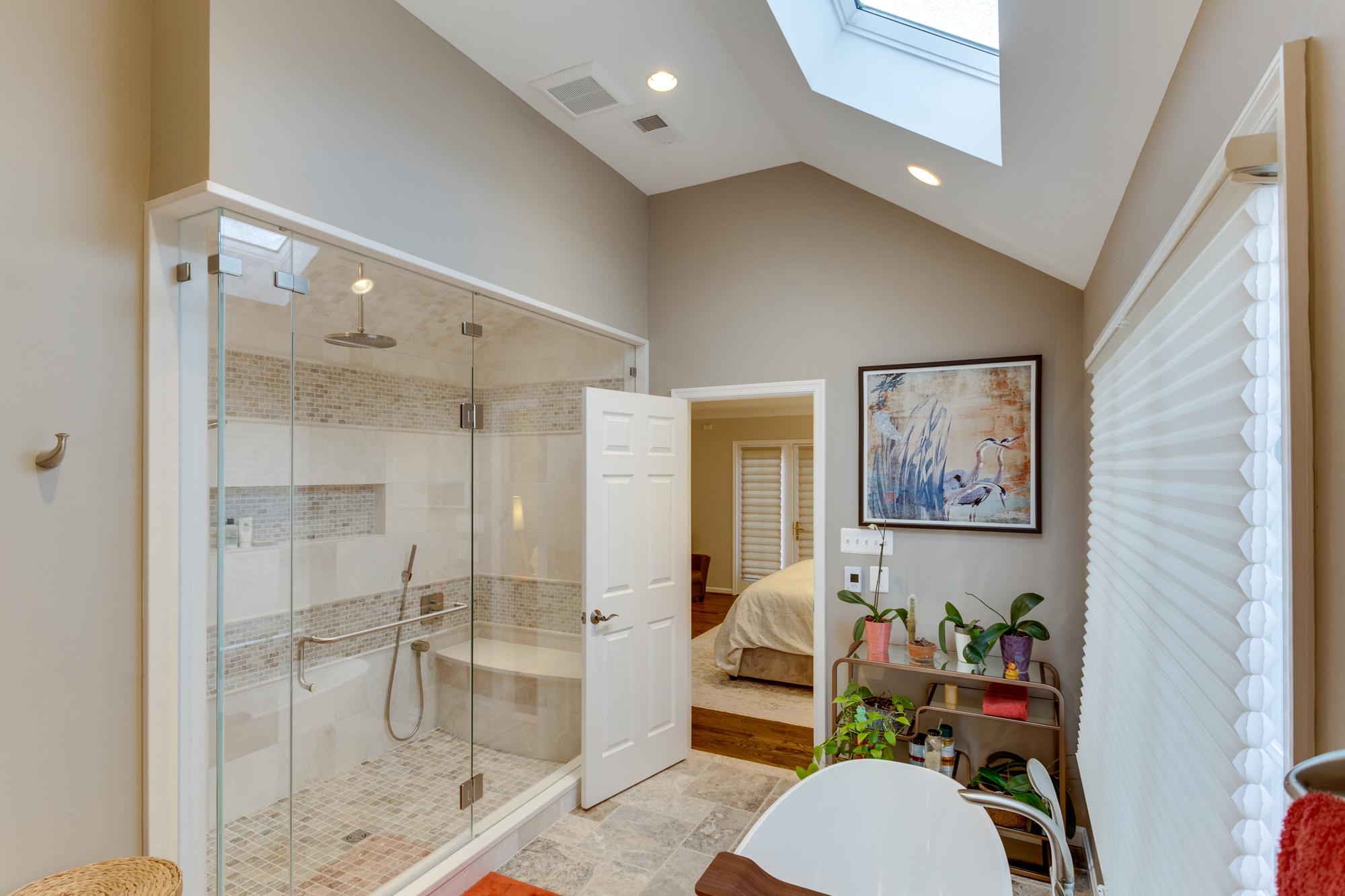 Universal design master suite renovation in mclean va bowa for Closet bathroom suites
