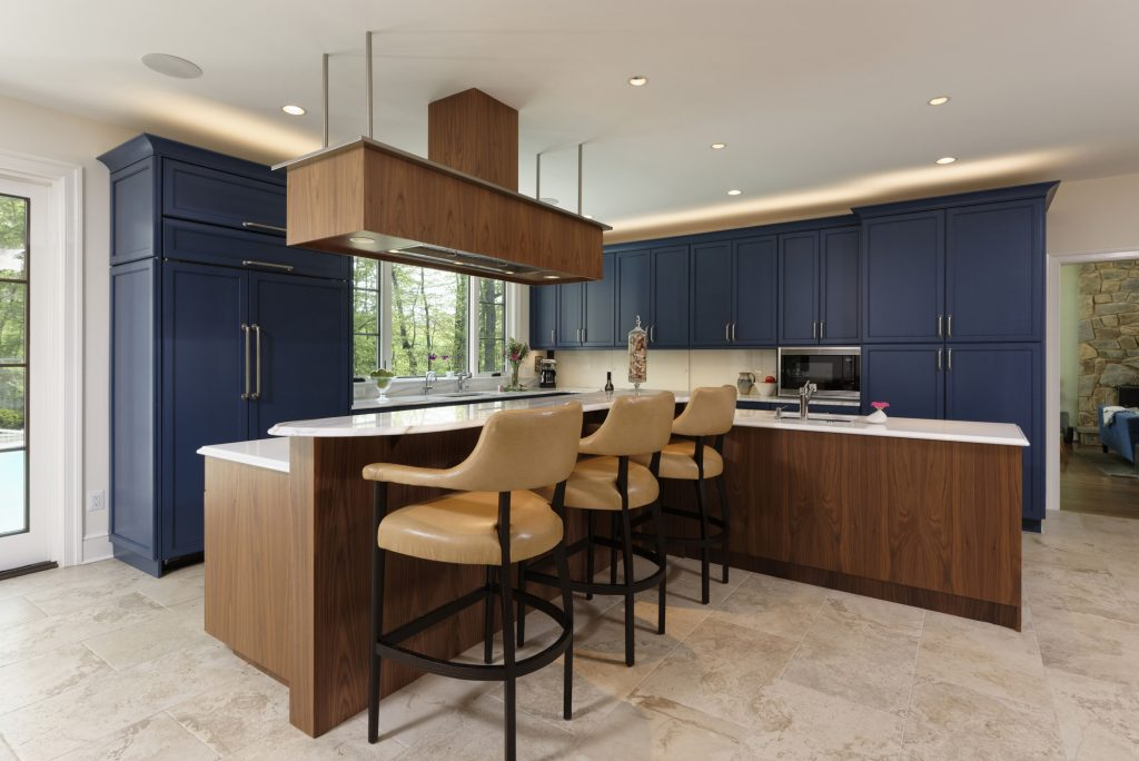 BOWA Design Build Kitchen Renovation Fairfax County, VA with Blue Cabinets
