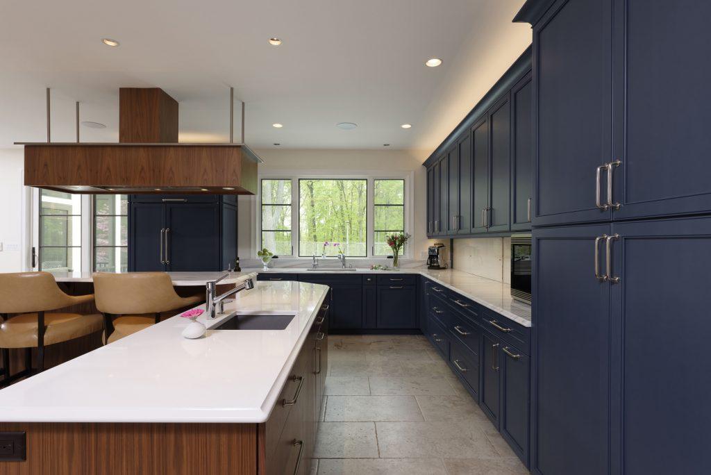 BOWA Design Build Kitchen Renovation with Blue Cabinets in Fairfax County, VA