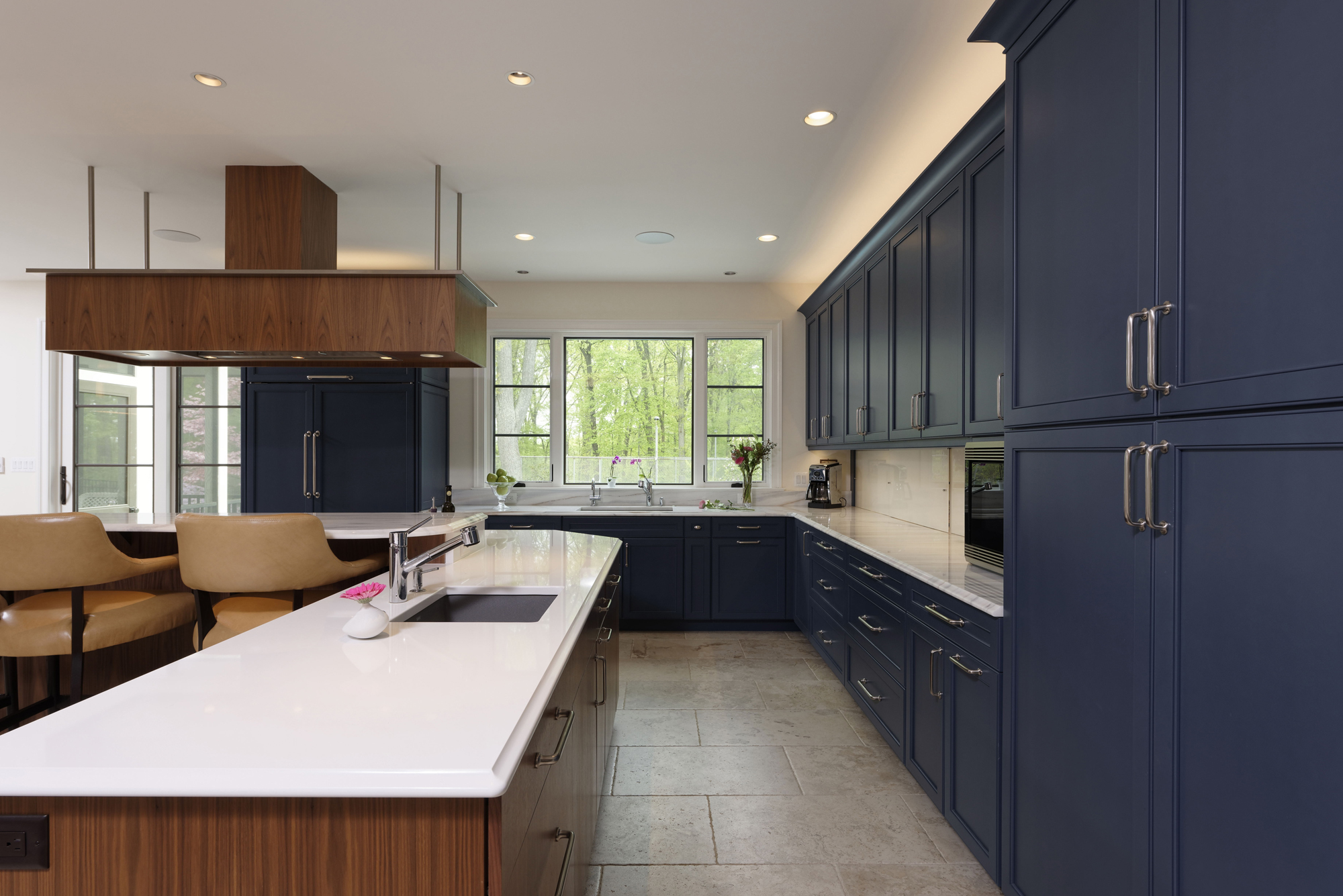 BOWA Design Build Kitchen Renovation With Blue Cabinets In Fairfax County,  VA