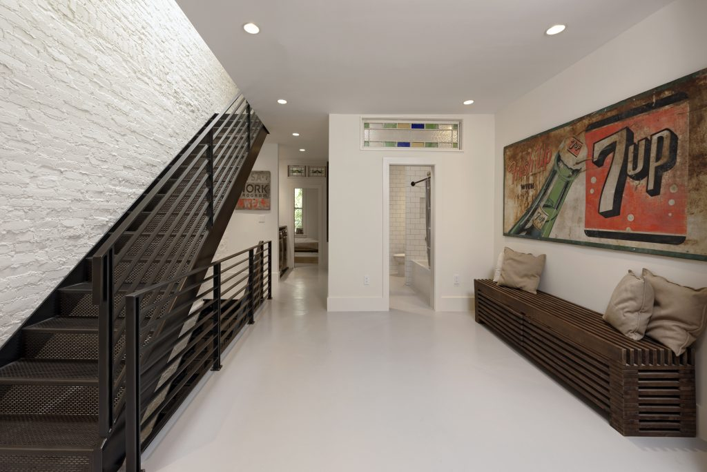 BOWA design build row home renovation in Washington, DC Sitting Area With Metal Stair