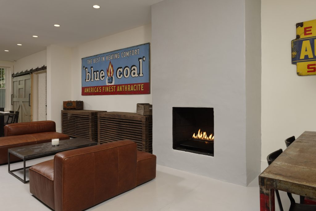 BOWA design build row home renovation in Washington, DC Living Room with Industrial Style Fireplace