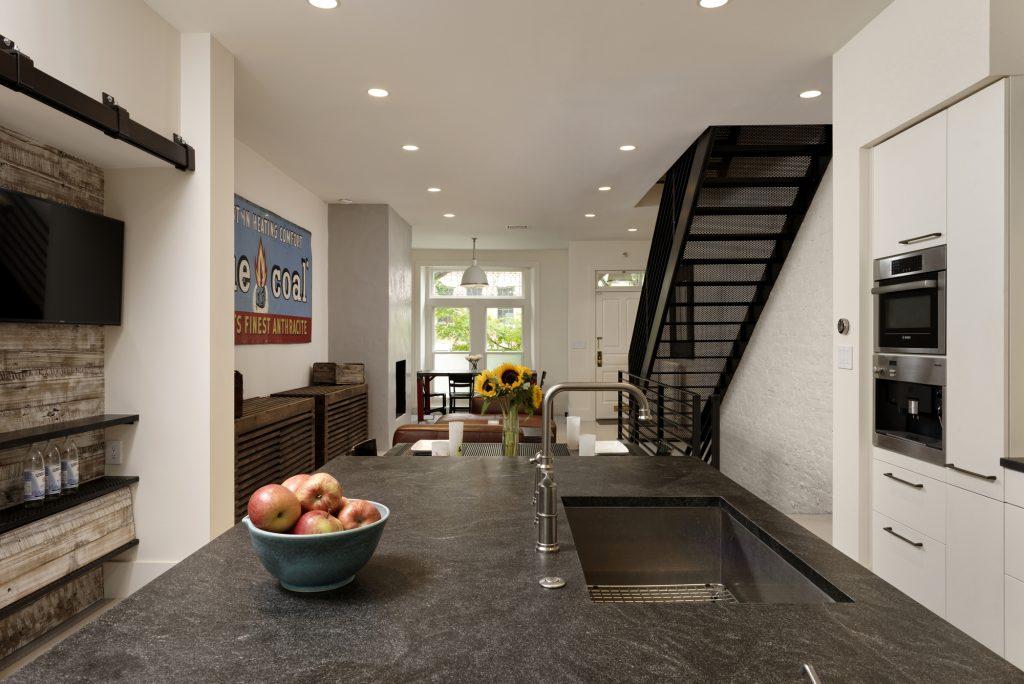 BOWA design build row home renovation in Washington, DC industrial kitchen