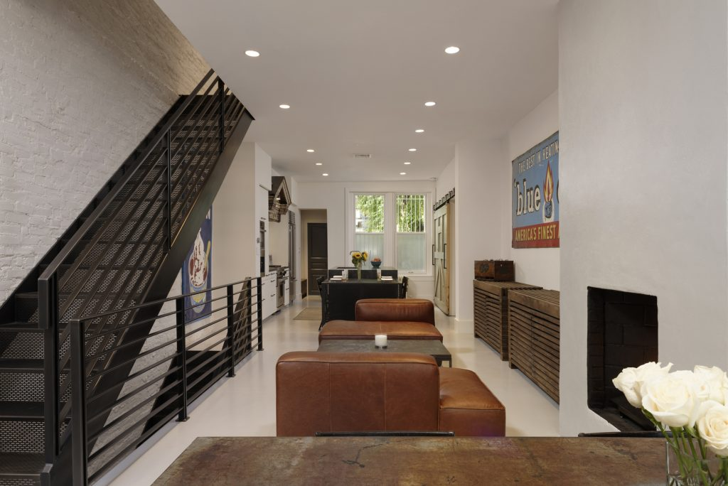 BOWA design build row home renovation in Washington, DC Industrial interior with metal stair