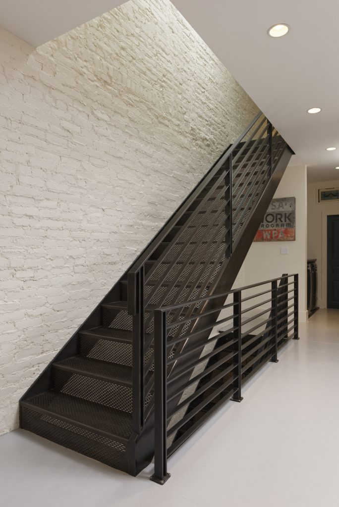 BOWA design build row home renovation in Washington, DC Industrial Metal Stair