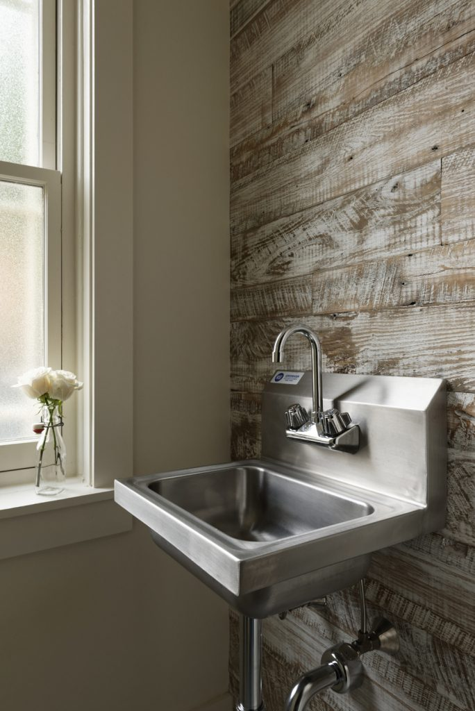 BOWA design build row home renovation in Washington, DC powder room sink