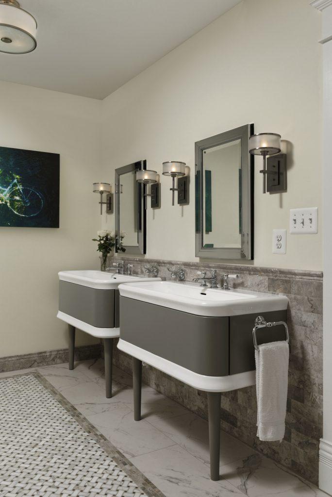 McLean VA 1910 Whole-Home Design Build Renovation Unique master bath sinks