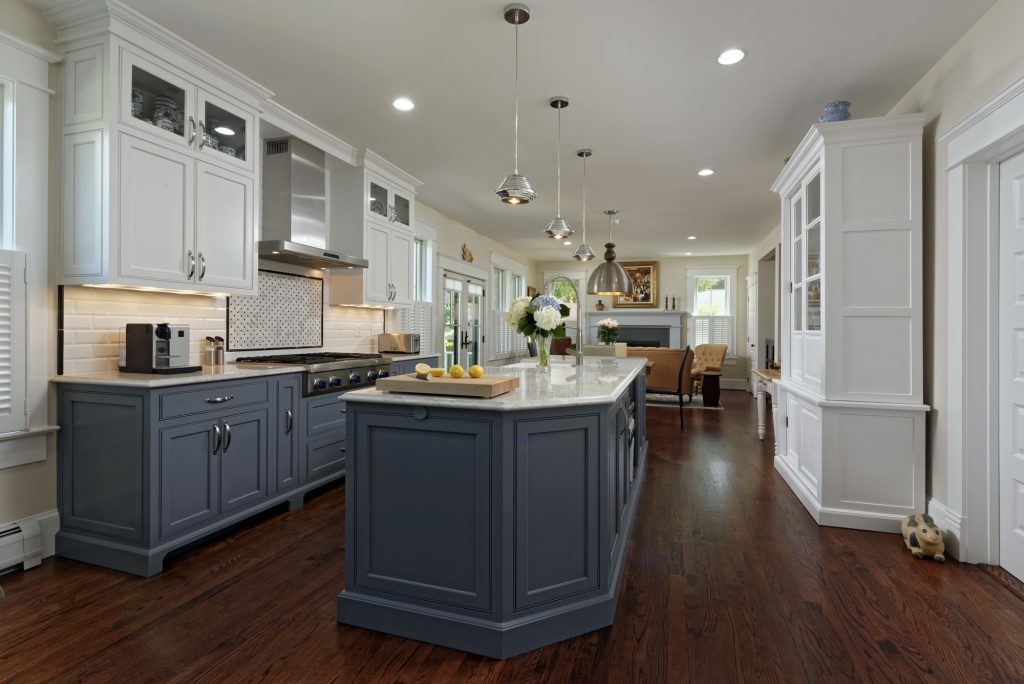 McLean VA 1910 Whole-Home Design Build Renovation blue and white kitchen