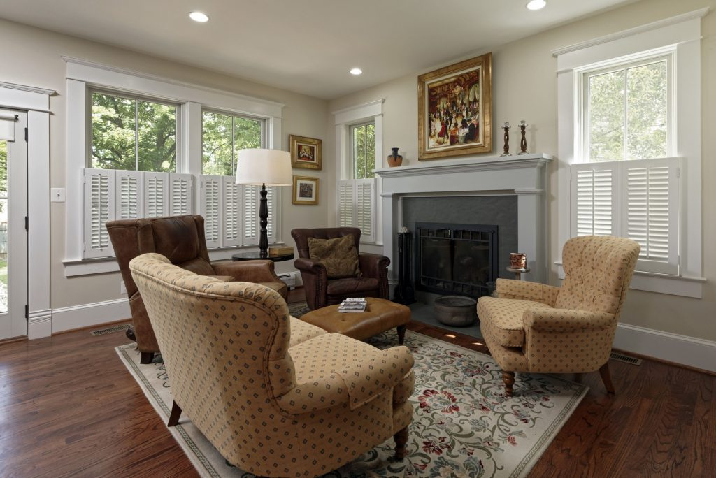 McLean VA 1910 Whole-Home Design Build Renovation Sitting Room Fireplace