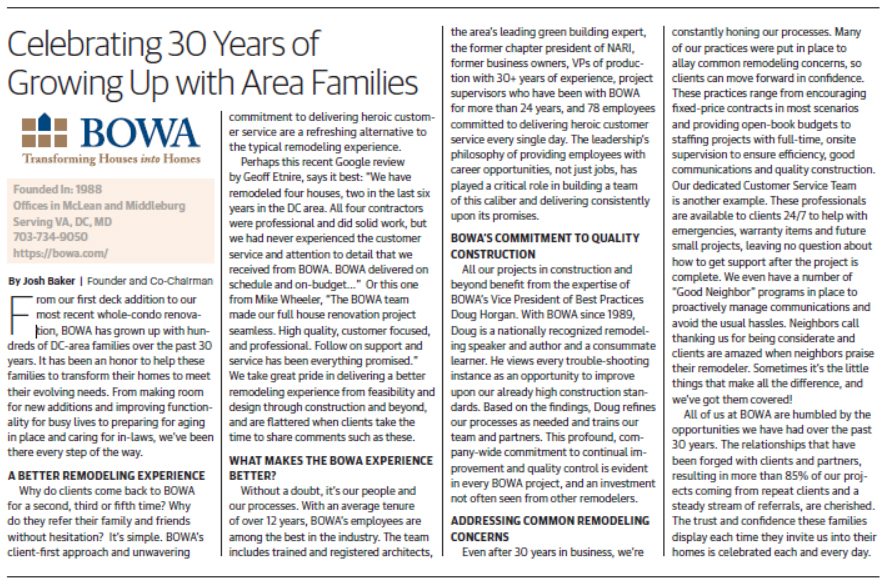 BOWA Celebrating 30 Years of Growing Up with Area Families - Washington Business Journal
