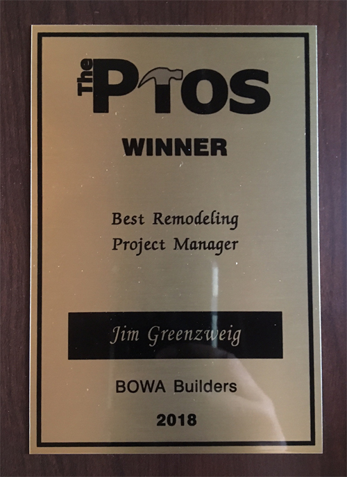 2018 Pros Awards - Jim Greenzweig - Best Remodeling Project Manager BOWA - reduced