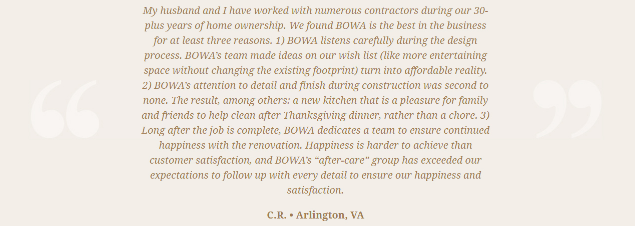 BOWA Client Review Jim Harris Arlington-VA