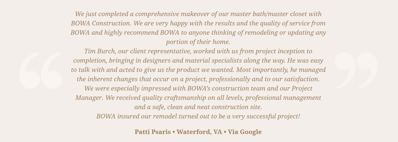 Burch Client Testimonial - Patti Psaris waterford VA Google