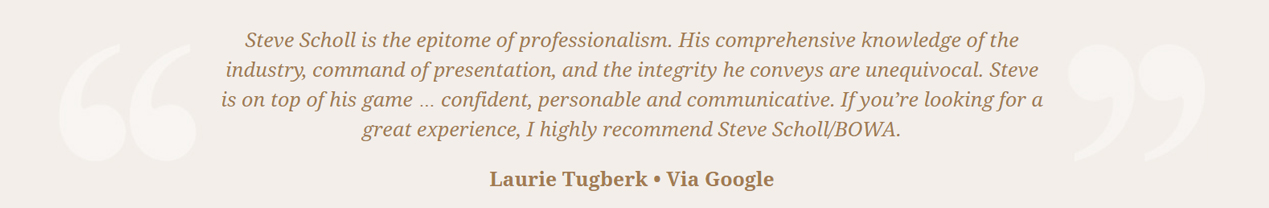 Steve Scholl - Laurie Tugberk Review Google
