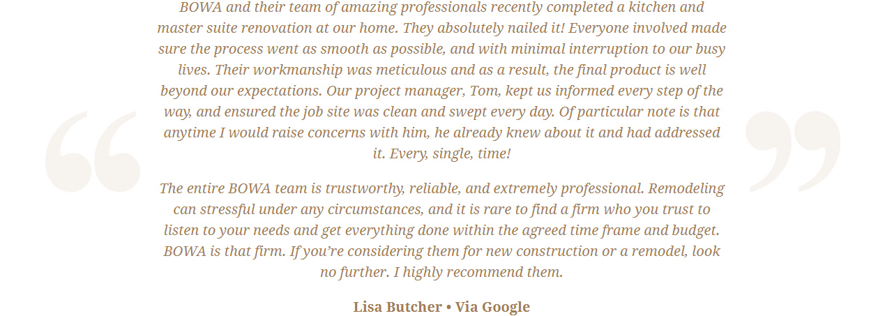 Google Review Remodeling Design Build Renovation - Lisa Butcher