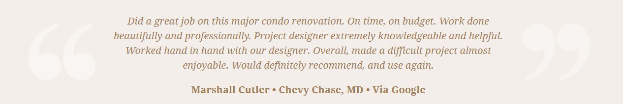 Google Review Remodeling Design Build Renovation - Marshall Cutler